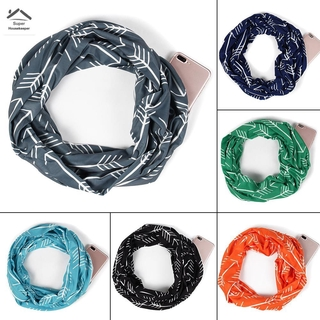 ready stock Women Winter Convertible Infinity Scarf with Pocket Loop Zipper Pocket Scarves