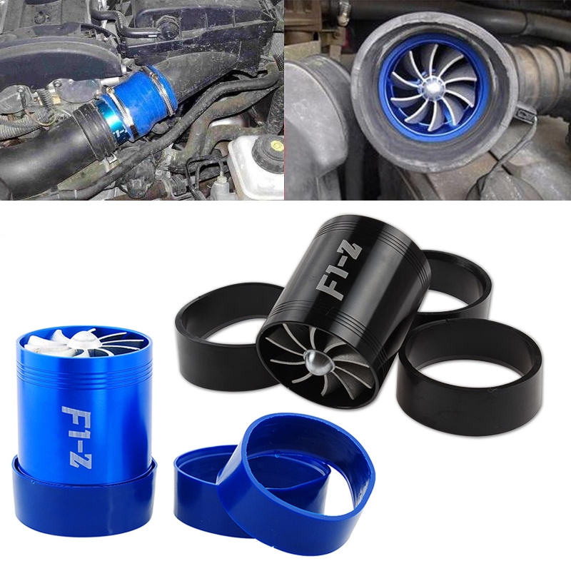 Universal Car Double Turbine Turbo Air Intake Gas Fuel Saver Fan Supercharger