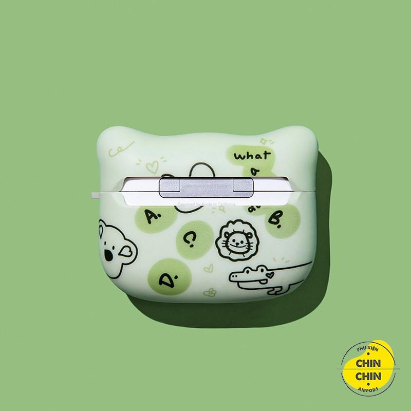 Case Airpod 2 Mặt Mèo Bảo Vệ Airpods1 2 Pro Thỏ Gấu Sư Tử Bằng Nhựa TPU Chống Bám Bụi - Chinchin Case