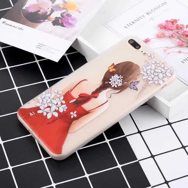 ốp gái tóc hoa trắng cho iphone