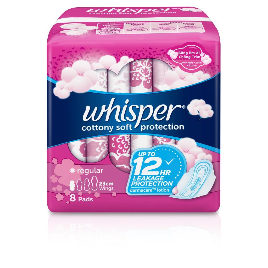 Băng vệ sinh Whisper Cotton cánh thường 8 miếng - 23 cm