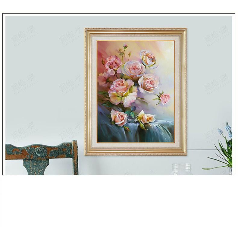 (HÀNG ORDER)Tranh thêu chữ thập chỉ lụa hoa hồng Y014X
