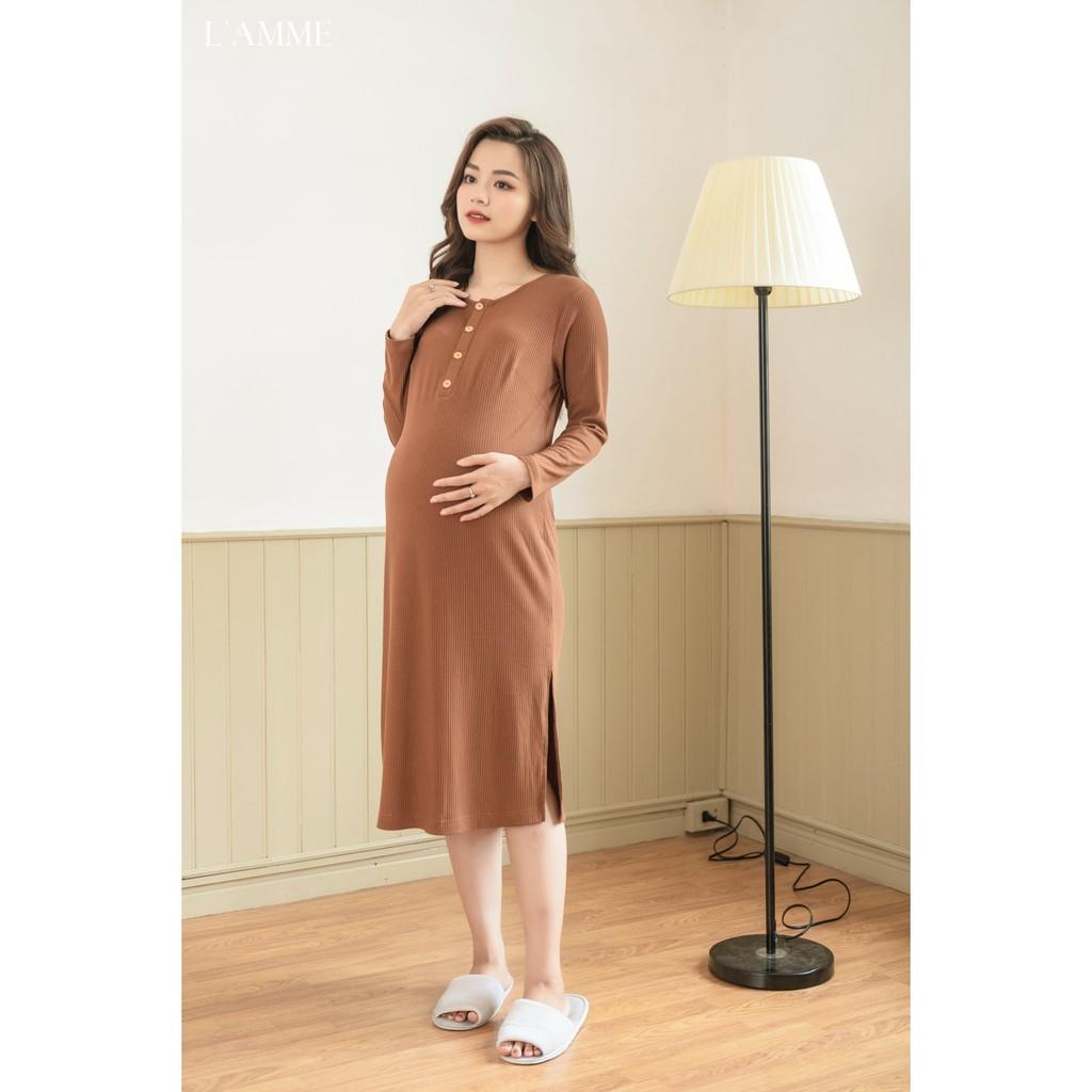 Váy bầu L'amme - Đầm sau sinh VC02 - chất cotton tăm phù hợp cho mẹ đi chơi, đi làm và dạo phố