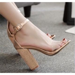 Giày sandal cao gót quai trong gót kim sa size 34 đến 40
