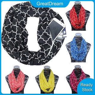 Portable Women Scarf Pocket Infinity Scarf All Match Travel Journey Scarves