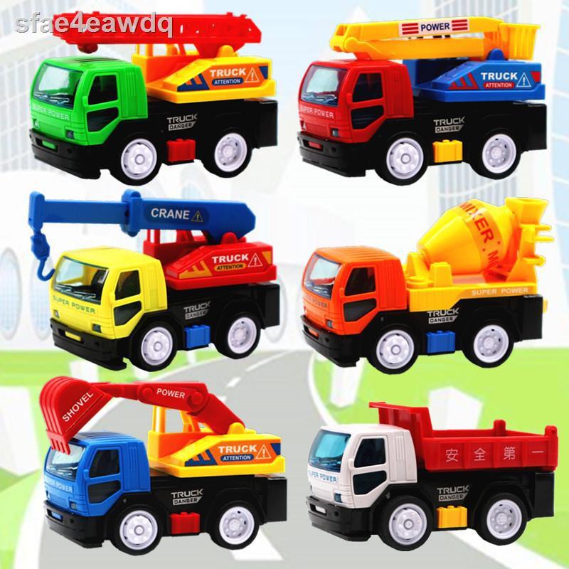 ✆xe kỹ thuật quán tính bộ đồ chơi trẻ em cứu hỏa mini cần cẩu trộn tải xúc