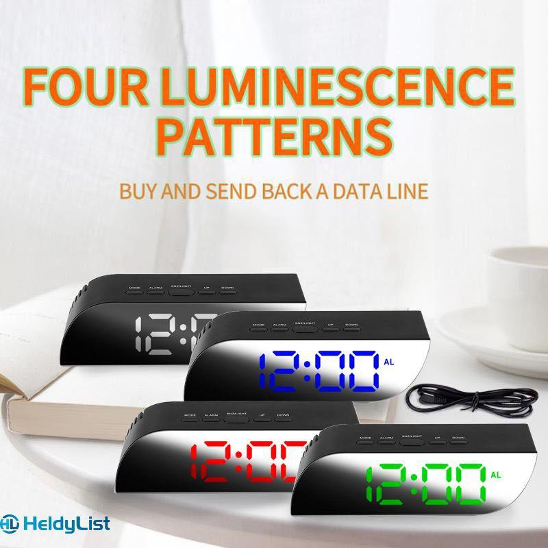 Đồng hồ báo thức tráng gương có đèn LED hiện nhiệt độ sáng tạo