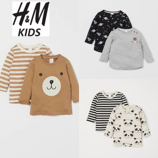 Áo thun dài tay bé trai – Set 2 áo cotton dài tay Hm cho bé trai size 1-6 tuổi