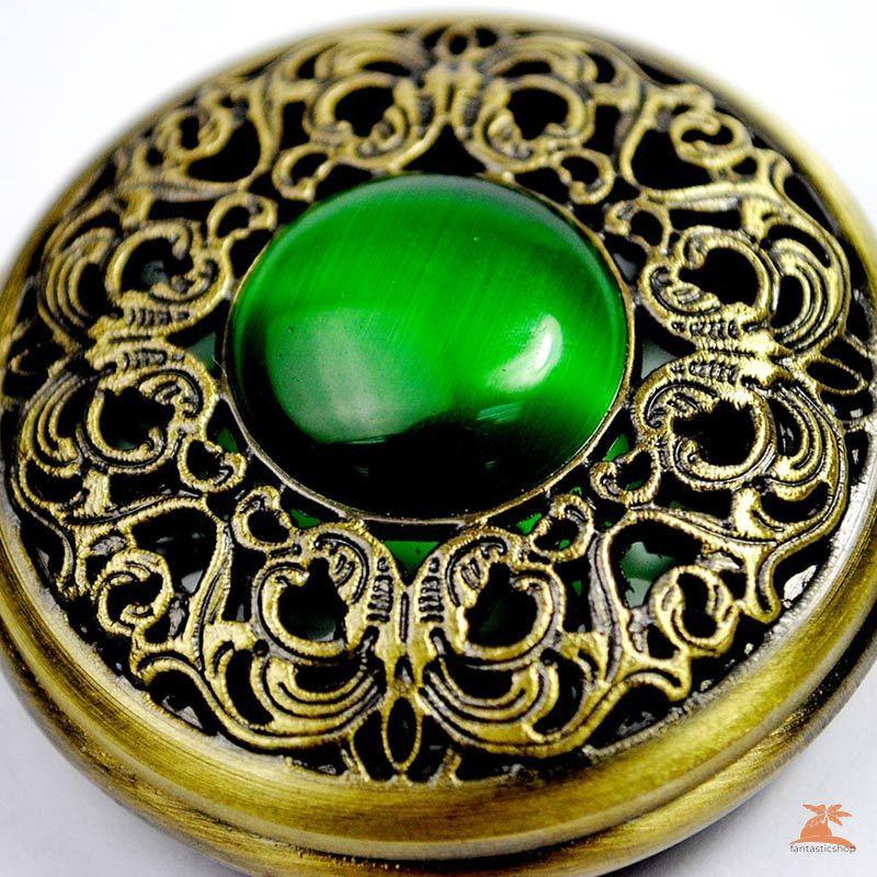 #Đồng hồ bỏ túi# Vintage Women Men Quartz Pocket Watch Chain Gothic Green Elf Eye Hollow Bronze Watch Pendant Necklace Gifts