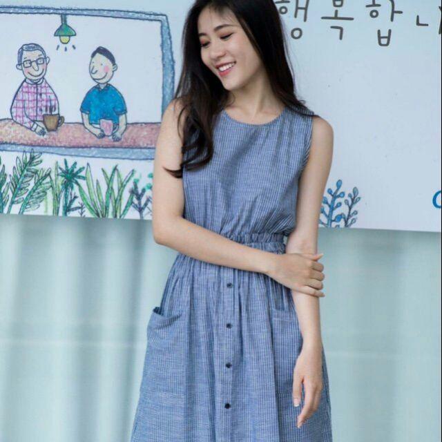 Đầm xanh sọc 2 túi (kèm hình thật)