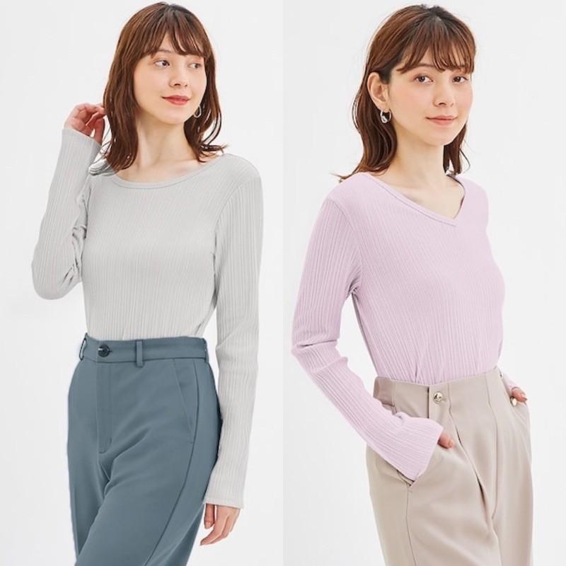 Áo thun tăm nữ dài tay xinh xắn của GU - Nhật Bản có thể mặc theo 2 cách: cổ tim và cổ tròn