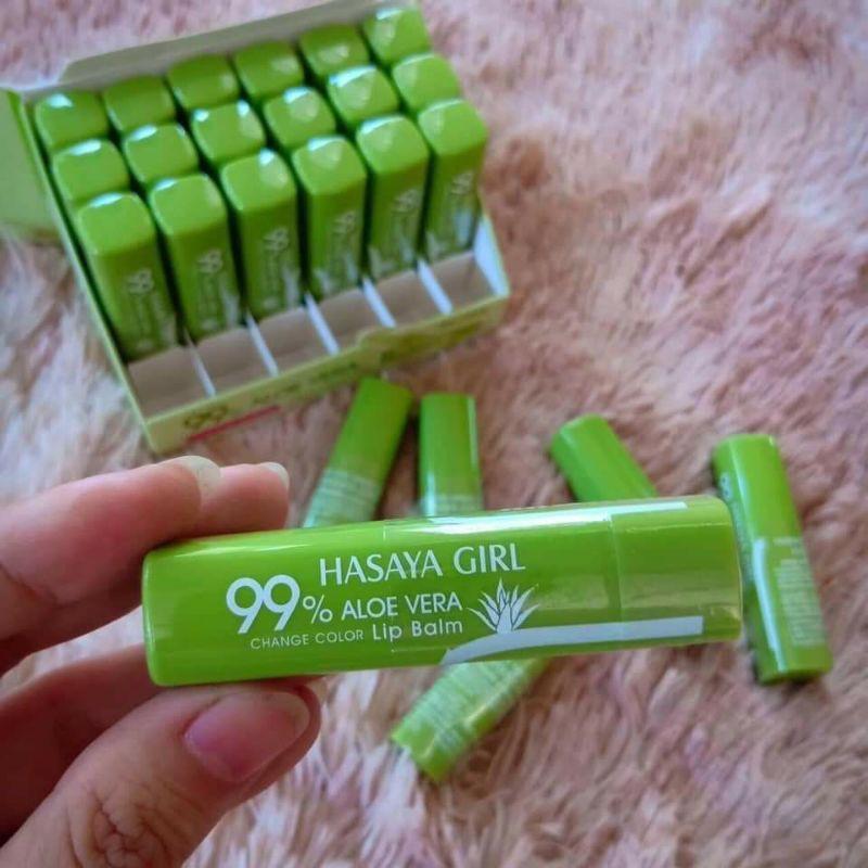 Son dưỡng môi nha đam Thái Lan Hasaya Girl dưỡng ẩm làm hồng căng bóng môi có màu hồng nhẹ