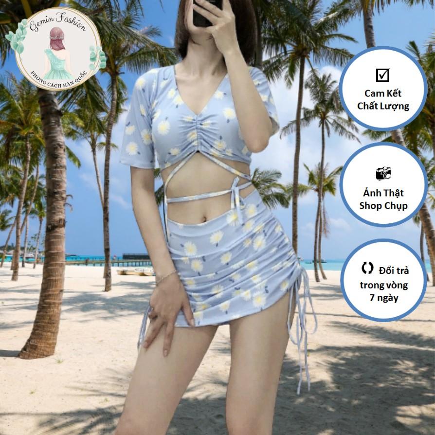 (Ảnh thật) Đồ bơi Ulzzang vải chất lượng cao set áo croptop rút dây cột eo và váy ôm rút dây 2 bên xanh hoa cúc