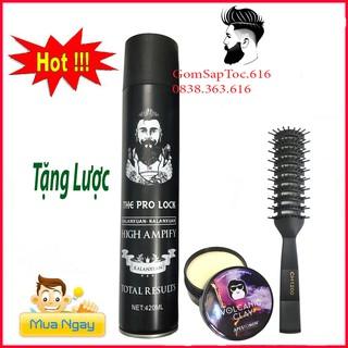 TL1-COMBO gôm xịt tóc THE PRO LOCK 420ML+SÁP VUỐT TÓC SIÊU GIỮ NẾP DÀNH CHO CẢ NAM VÀ NỮ(TẶNG LƯỢC CHAOBA)