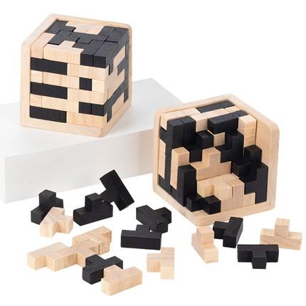 [Đồ chơi trí tuệ] Tetris Puzzle 5 Magic 54 Tấm Lắp Ráp Trẻ Em Bằng Gỗ