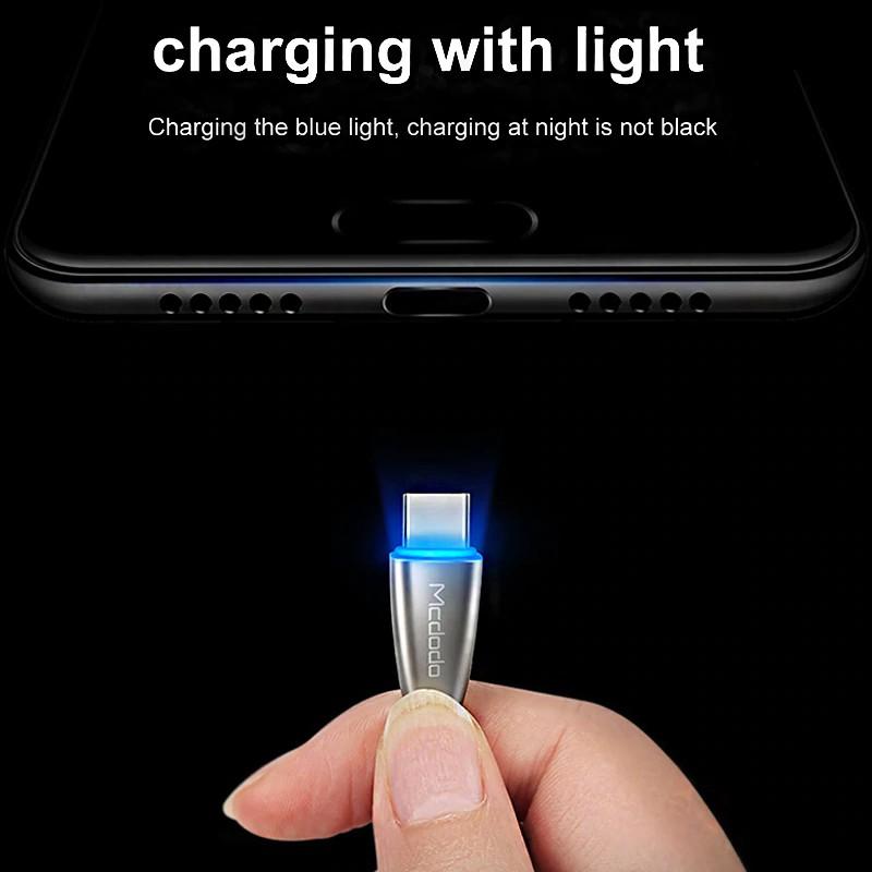 Cáp sạc nhanh đầu USB Type-C dài 1.5m tích hợp đèn cho Huawei/Nokia/Samsung/LG/Motorola/HTC/Sony