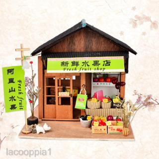 DIY Miniature Doll House Wooden Archaic Chinese Fruit Store with Furniture
