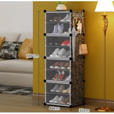 Tủ Giầy 8 Ô 1 Cột 8 Tầng Bằng Nhựa Lắp Ghép Màu Đen Vân (Có Cánh Cửa, Để Được 16 Đôi) loại1