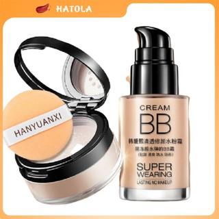 Combo trang điểm makeup kem nền che khuyết điểm và phấn phủ kiềm dầu lameila HT-TL144 thumbnail