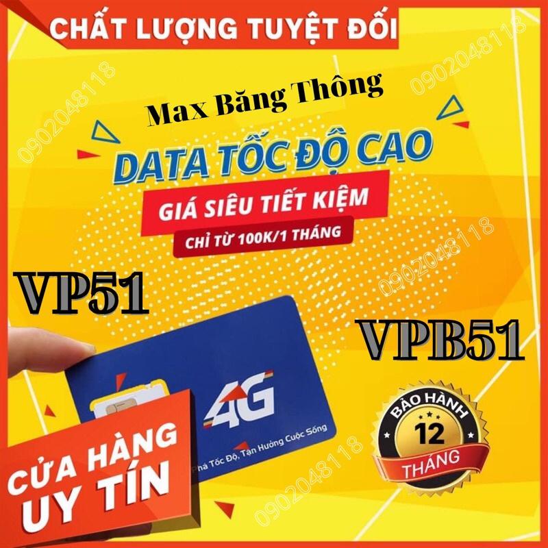 VP51, VPB51 Sim 4g mobifone max băng thông. Sim vào mạng miễn phí 1 năm.