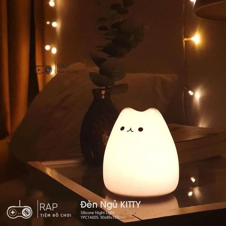 Đèn ngủ mèo con silicon, mềm mại và thay đổi đèn màu cảm ứng