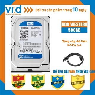 Ổ cứng HDD 500GB Western Blue SATA - Tặng cáp sata 3.0 Hàng tháo máy đồng bộ nhập khẩu mới 98% BH 24T
