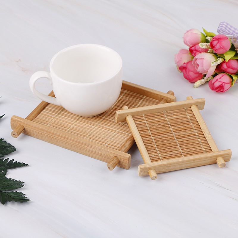 XYVN bamboo cup mat tea accessories table placemats coaster home kitchen decor