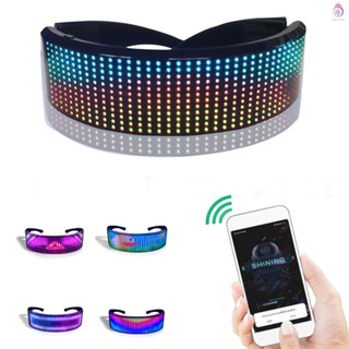 LED Glasses Customizable BT LED Glasses Colorful Light Glow Glasses DIY Messages 22 Animations 20 Pictures Music Mode Glow Toys for Halloween Party Rave Music Festival