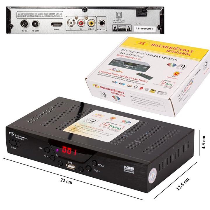 [FREESHIP 70K] Đầu thu kỹ thuật số DVB T2 Honjianda MS01 MS02 tặng an ten 113 và 15m cáp