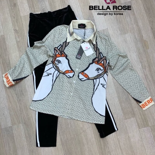 Bella rose : Setเสื้อเชิ้ต กางเกงกำมะหยี่