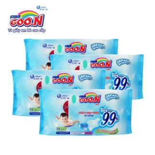 Combo 4 bịch khăn ướt Goon 55 miếng cho bé thumbnail