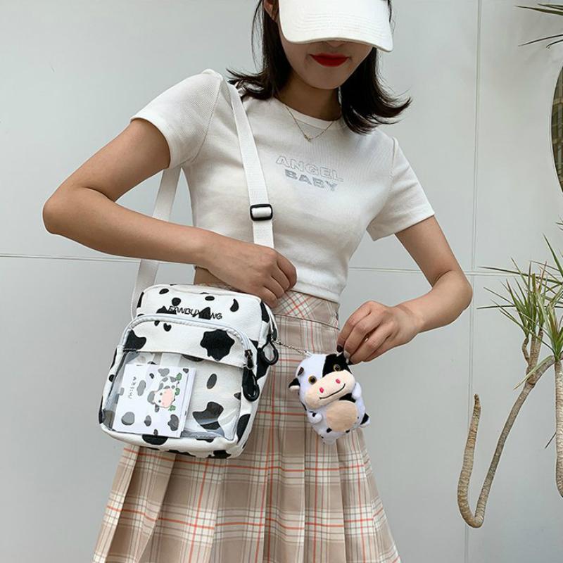 Túi vải học sinh in họa tiết bò sữa đáng yêu