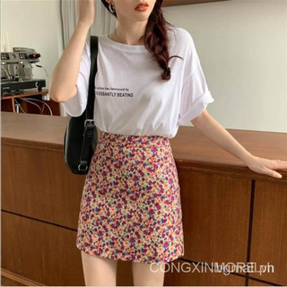 Floral High Waist Skirt Students cute