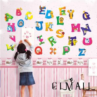 ➤GMLA-Z Alphabet&Animals Wall Sticker Mural PVC Decals Kids Baby Nursery Decor