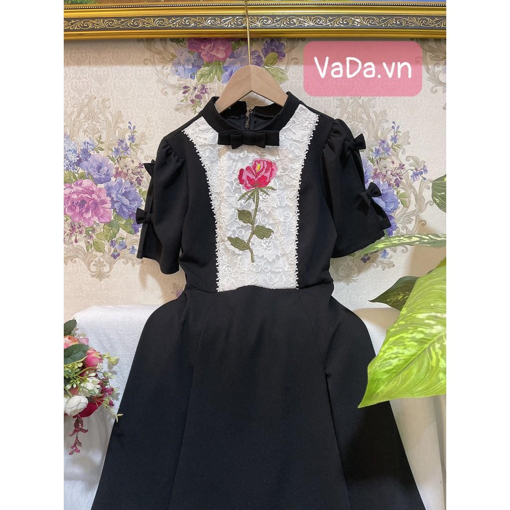 Mặc gì đẹp: Sang chảnh với Đầm dự tiệc 2021 tay ngắn xòe thêu hoa xinh yêu, đi chơi , dạo phố cũng rất phù hợp - Thời Trang VADA - V10