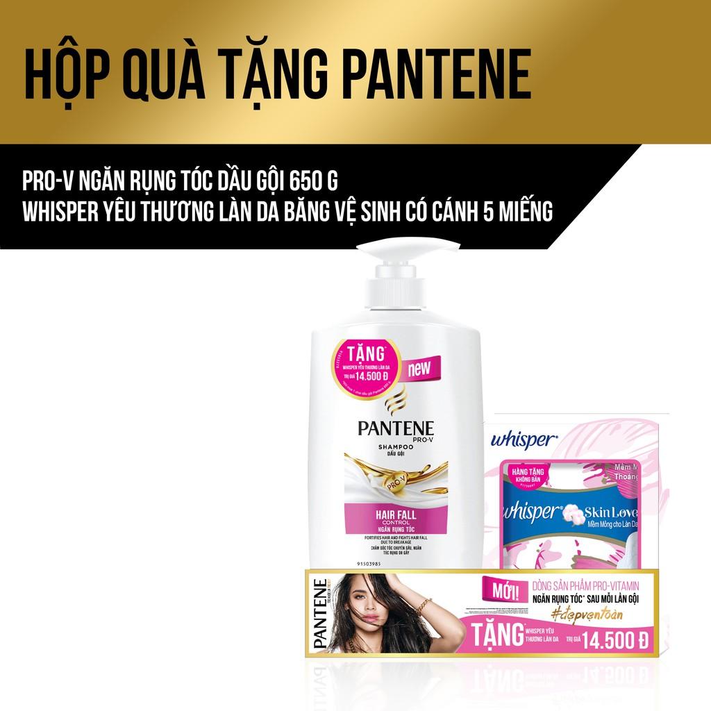 Hộp quà tặng Pantene: Dầu gội 650G tặng băng vệ sinh Whisper Skinlove 5 miếng/bịch