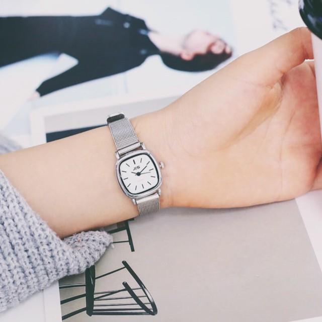 Đồng hồ nữ Jis dây kim loại mặt vuông nhỏ xinh