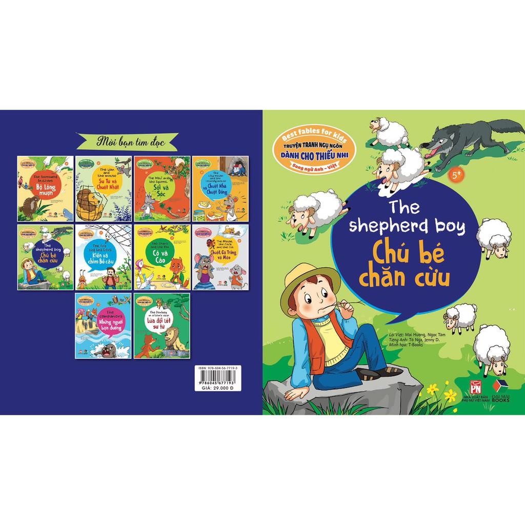 Sách - Truyện tranh ngụ ngôn dành cho thiếu nhi song ngữ anh việt, chú bé chăn cừu