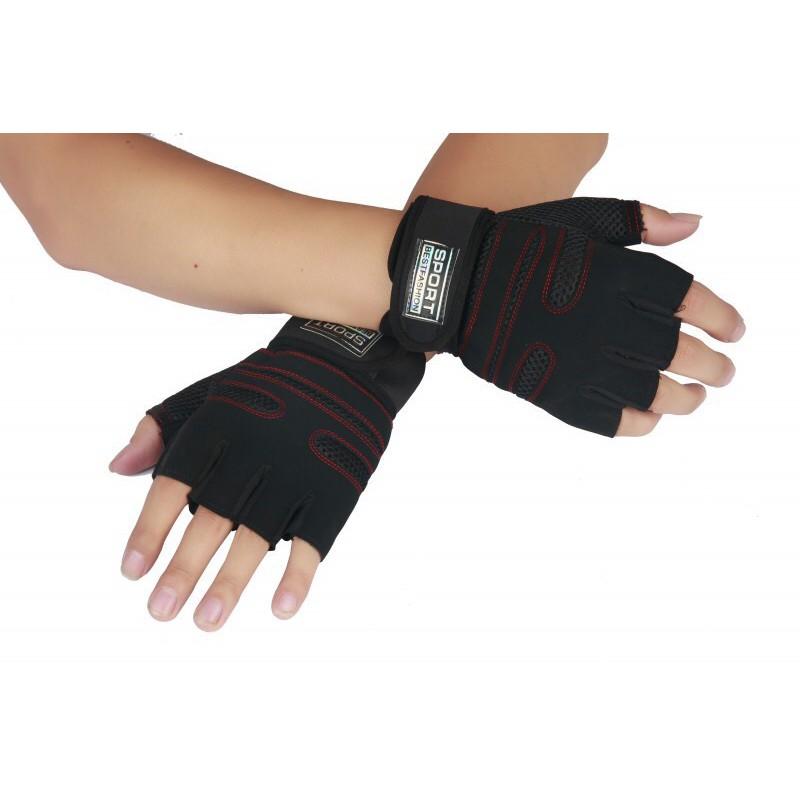 Găng tay thể thao Găng tay tập Gym Bảo vệ bàn tay kèm quấn cổ tay
