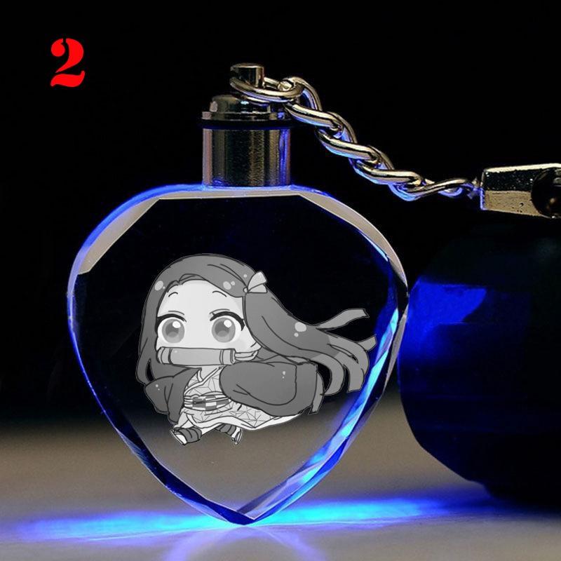 Móc khóa đèn 7 màu pha lê anime Kimetsu no Yaiba - KNY - Baystore