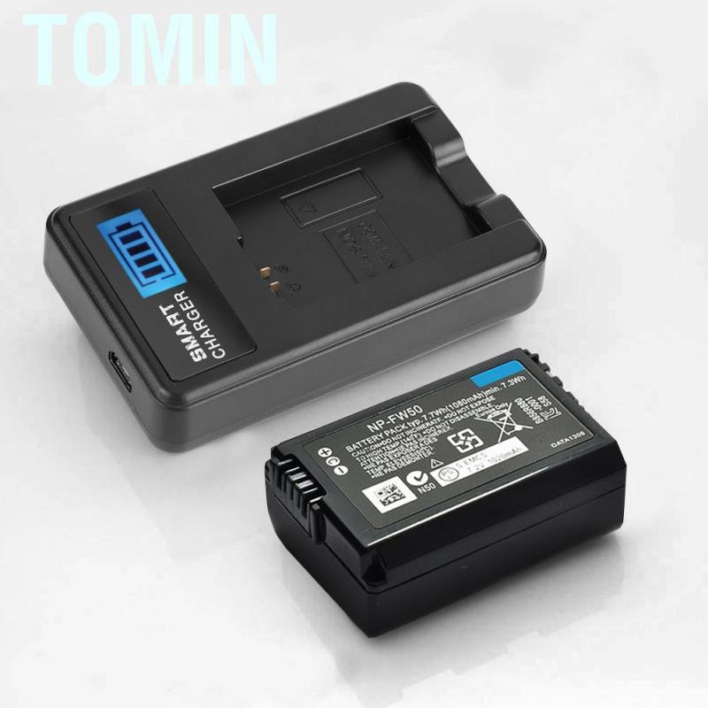 Tomin NP-FW50 Battery LCD Single Charger for Sony Alpha A6000 A6300 A6500 A7r A7
