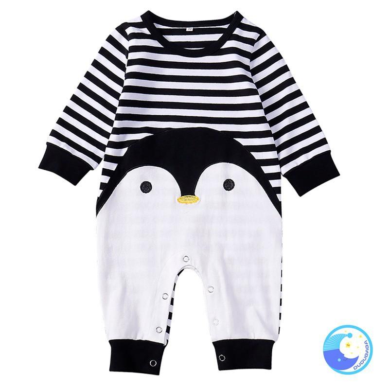 Áo liền quần sọc ngang in hình chim cánh cụt dễ thương cho bé