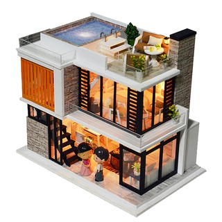 Doll House Diy Miniature Wooden Swimming Pool villa Kits Toys