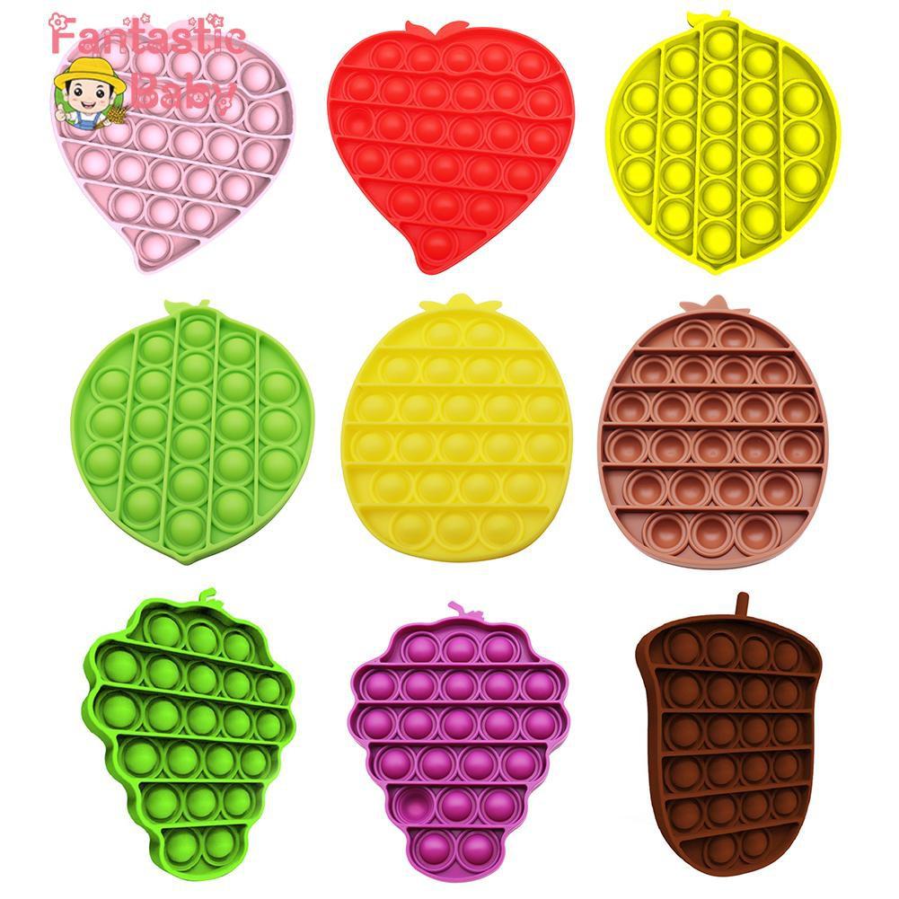 [❥Fbaby]Fruit Shape Push Bubble Sensory Toys Autism Anti-stress Toys Puzzle Game