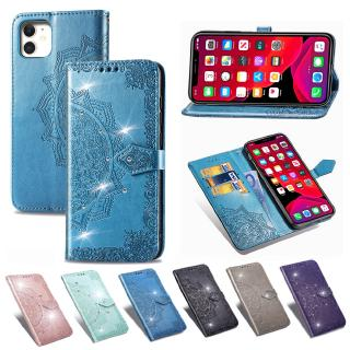 Mandala Leather Case Bling Diamond Phone Case for Motorola Moto G7 PLUS P40 one vision Z4 PL