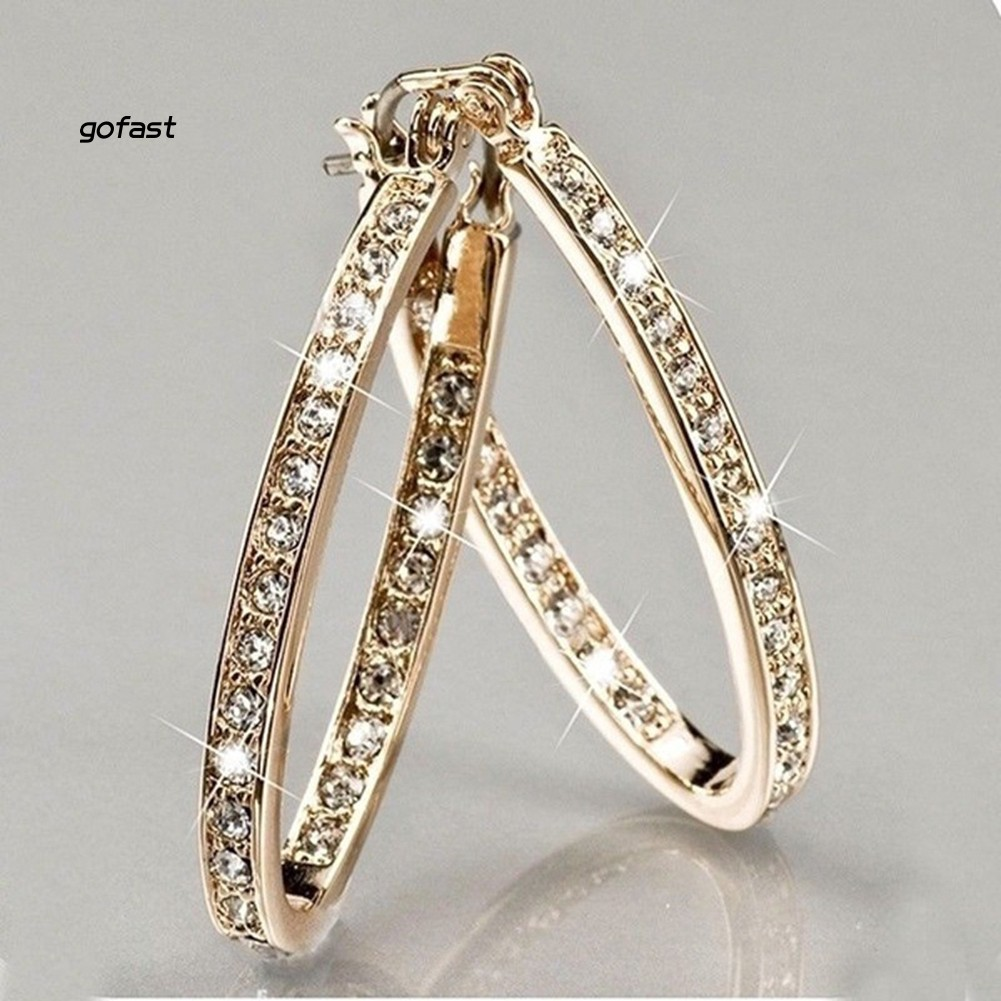 Dazzling Women Rhinestone Inlaid Big Circle Hoop Earrings Party Banquet Jewelry