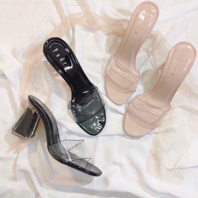 [ SỈ HN ] guốc cao gót quai trong gót bầu trong xuyên suốt lót mềm êm chân sang chảnh tôn dáng