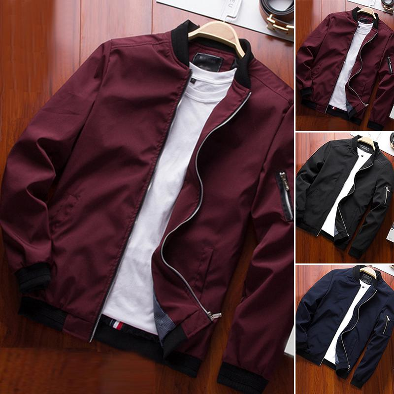 Spring Men Zipper Jacket Thin Warm Casual Work Bomber Jacket Baseball Coat