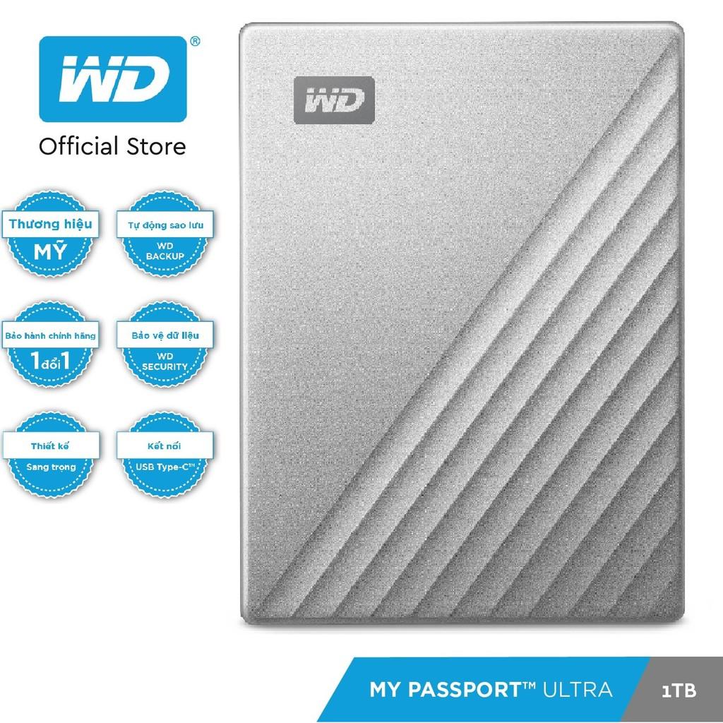 [Mã ELWD08 giảm 150k đơn 1 triệu] Ổ Cứng Di Động WD My Passport Ultra Silver -1TB ( 2.5'' USB 3.0 ) - Hàng Chính Hãng