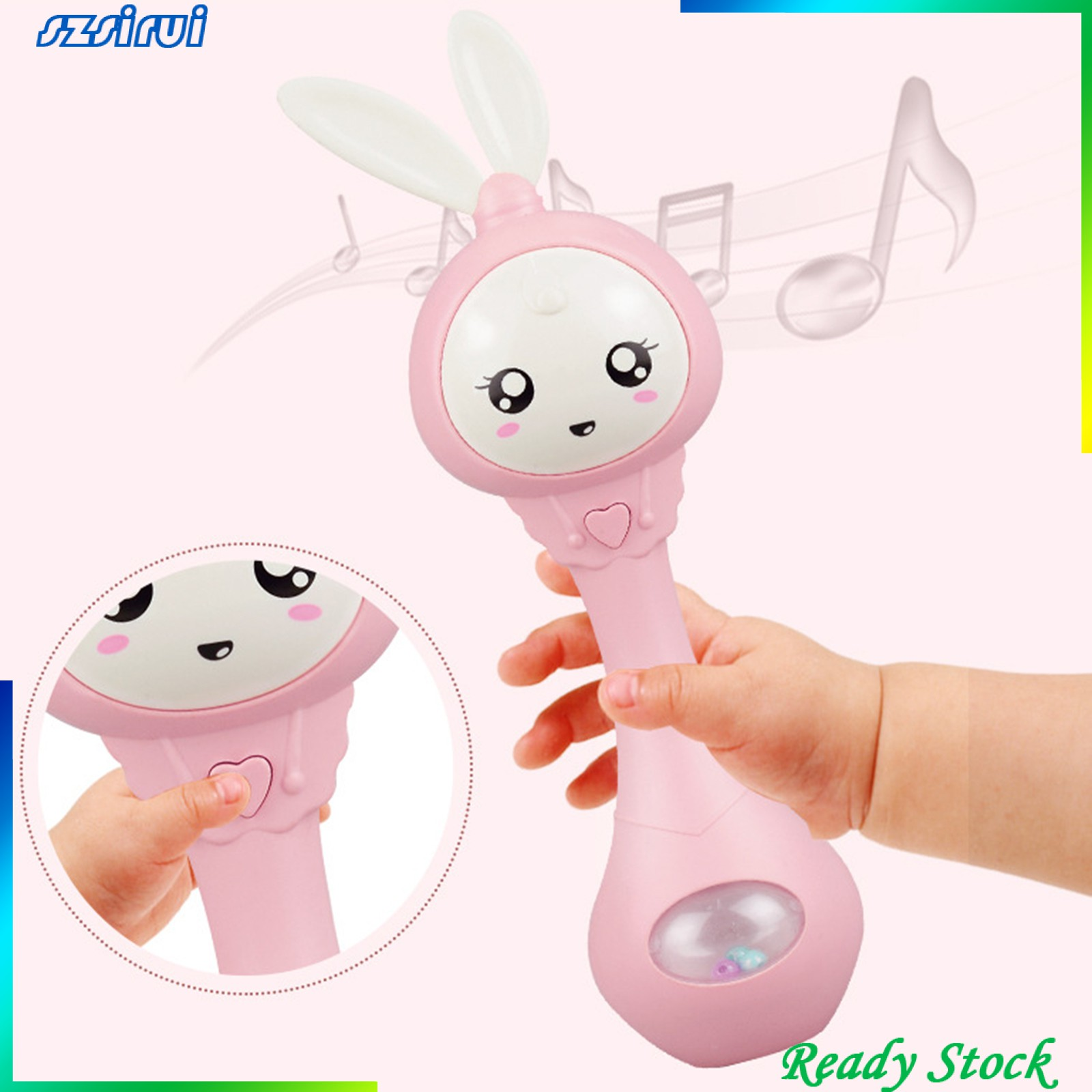 [Ready Stock] Cartoon Rabbit Baby Shaking Rattle Hand Bell Music Light Teether Toy